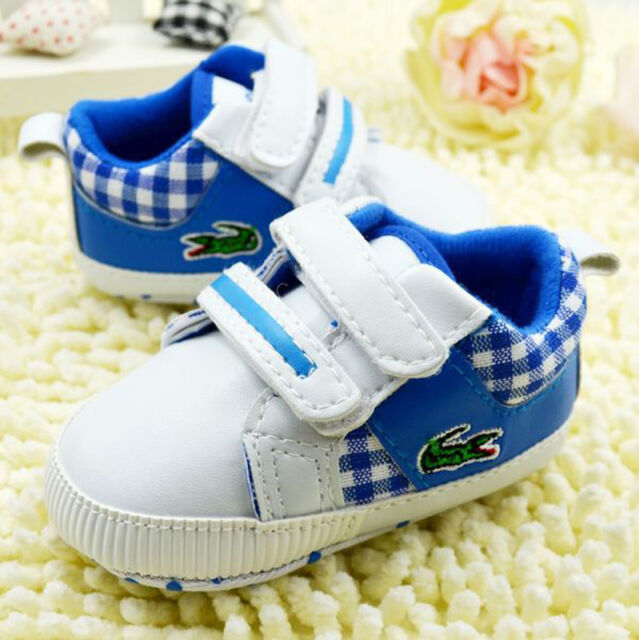 Baby Boy blue Soft Sole Crib Shoes Sneakers Size Newborn to 18 Months