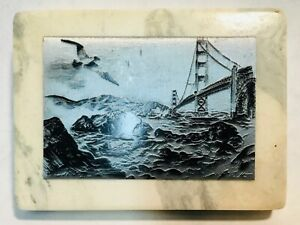 Alec-STERN-original-etching-metal-on-marble-slab-signed-and-labeled