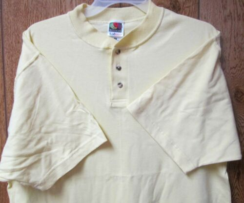 Men/'s T-Shirt Henley 3 Button Medium Fruit of The Loom Yellow Color 100 Cotton