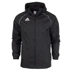 Adidas-Core18-Rain-Jacket-Coat-Hood-Waterproof-Sport-Football-Zipped-Men-Black
