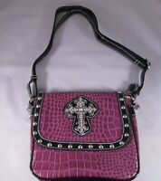 Studded Purple Messenger Cross Body Bag Purse W/rhinestones Silver Cross 1333