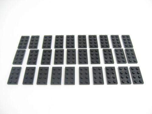 30x LEGO Black Standard Plate 2 x 4 Base Platform Basic Structure Building #3020