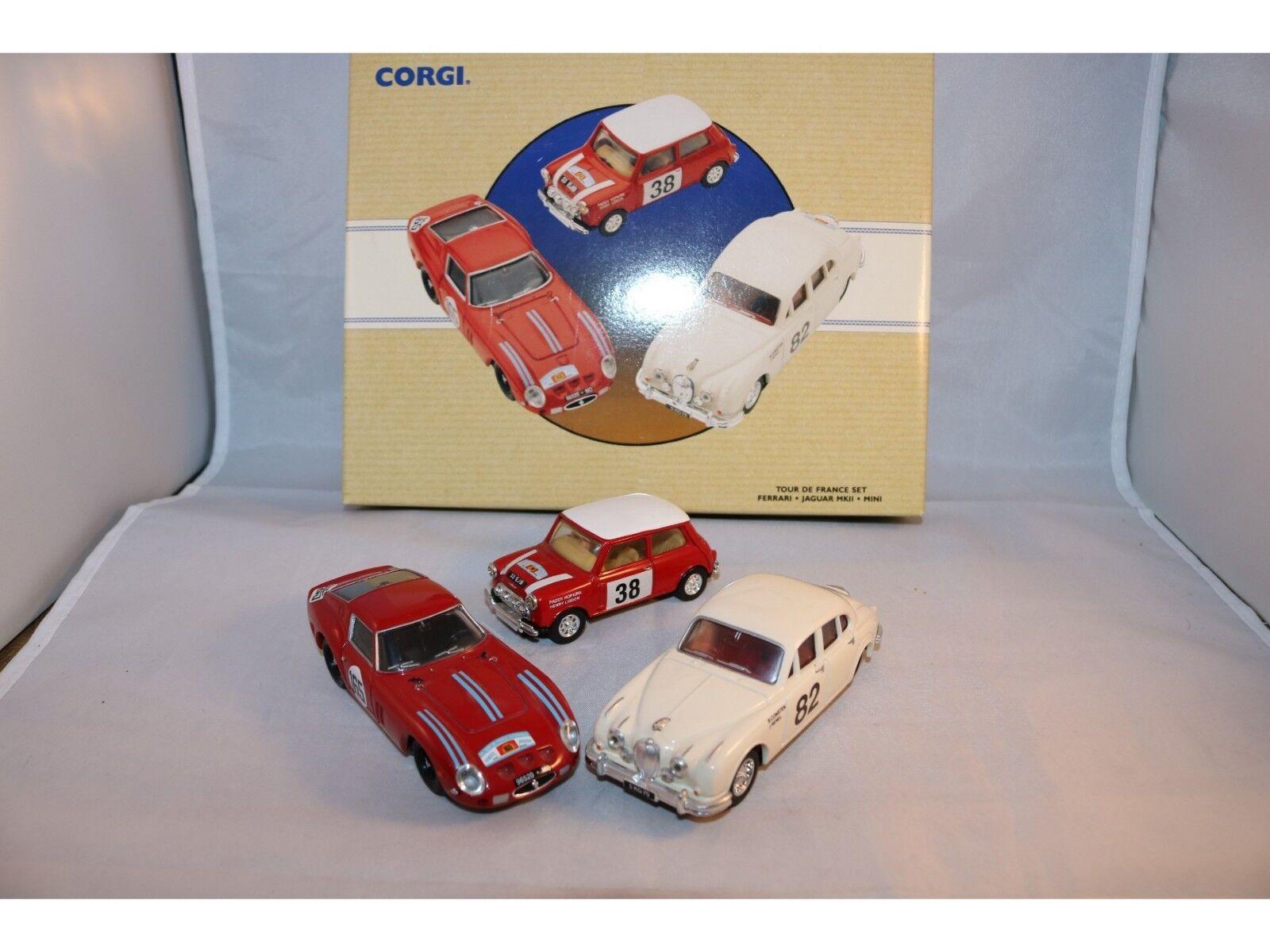 Corgi Toys 97708 Tour the France Set Ferarri & Jaguar & Mini in mint condition