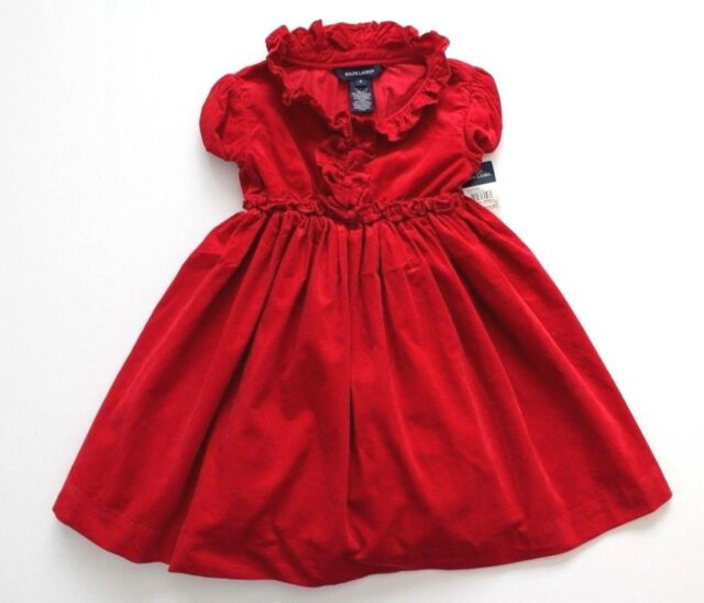 15a66c6de51c Ralph Lauren Girls Dress Christmas Corduroy Red Short Sleeve Size 5 NWT