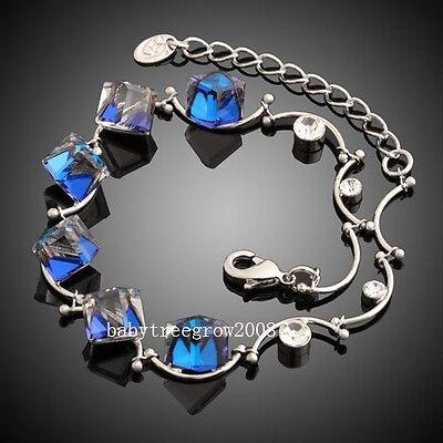 18K white Gold GP Blue Austrian Crystal Fashion Chain Bracelet 319