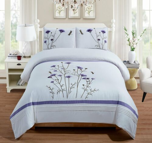 Fancy Linen 3pc Embroidery Queen Off White Purple Lavender Duvet Cover Set New