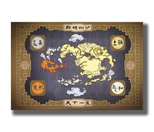 American cartoon art-Avatar the last Airbender Map Fabric Poster Art ...