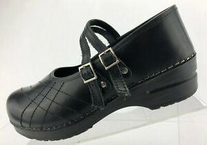 Sanita-Claire-Double-Strap-Clogs-Black-Leather-Casual-Shoes-Womens-40-US-9-5-10