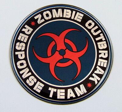 Zombie outbreak Responce team Emblem domed decal on chrome Bike Motorcycle Car