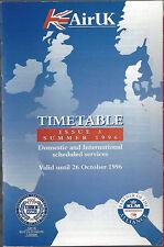 Air UK system timetable valid until 10/26/96 [6081] Buy 2 get 1 free
