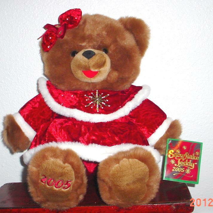 2005 WalMART CHRISTMAS Snowflake TEDDY BEAR braun Girl 22  rot Grün Outfit nice