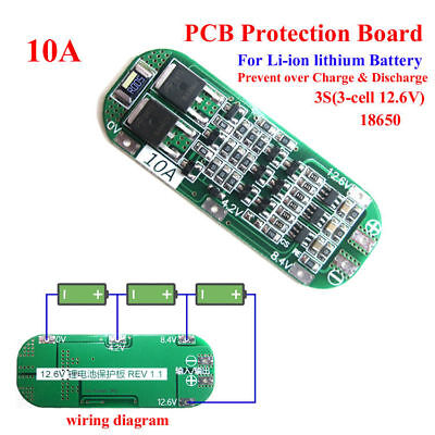 3S 10A 11.1V BMS PCB Protection Board for 18650 Li-ion Lithium Battery Cell 3S