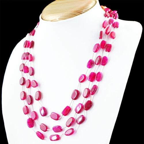 RARE 225.00 cts Earth mined Rich Red Ruby 3 Strand Forme Ovale Perles Collier