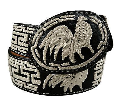 Embroidered Leather Belt Cowboy Design Color Black