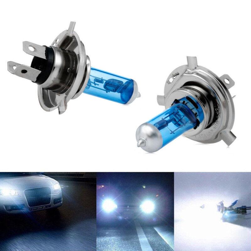 2x H4 HB2 9003 Xenon White 12V 55W 6000K Bright Light Halogen Headlight Bulbs