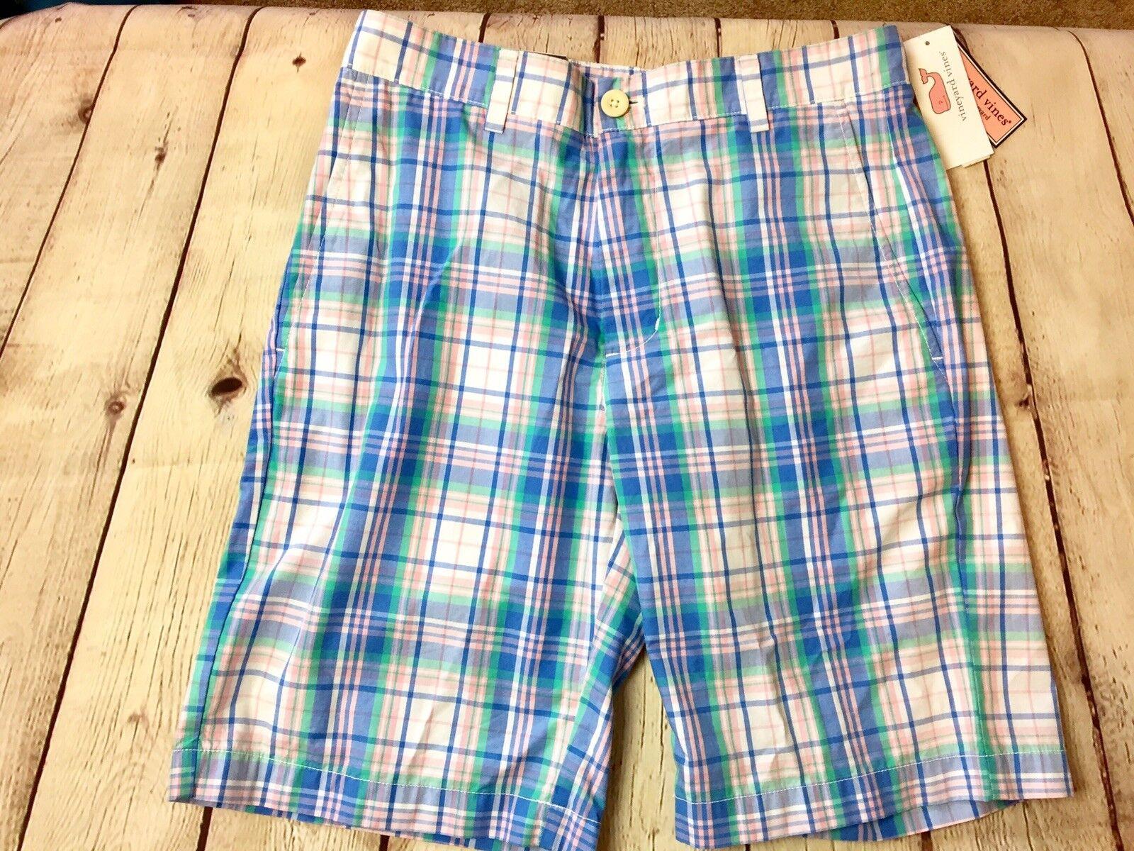 NWT Vineyard Vines classic fit 9  Breaker bluee Green plaid mens 28 shorts  O