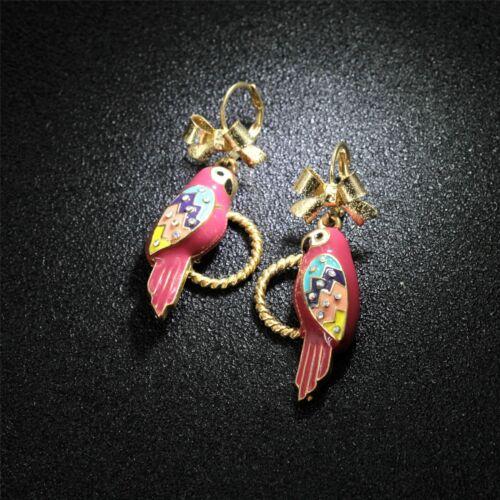 Boucles d/'Oreilles Parroquet Plume Violet Noeud Papillon Mariage Cadeau EE 4