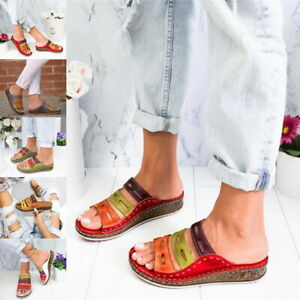 Ladies-Womens-Wide-Fit-Low-Wedge-Comfort-Summer-Beach-Cushion-Sandals-Shoes-US