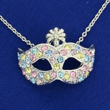 Mask W Swarovski Crystal Masquerade The Phantom Of The Opera Theater Necklace
