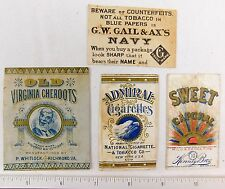 1870s-1880s Lot of Victorian Cigarette Tobacco Labels Vintage Originals F56