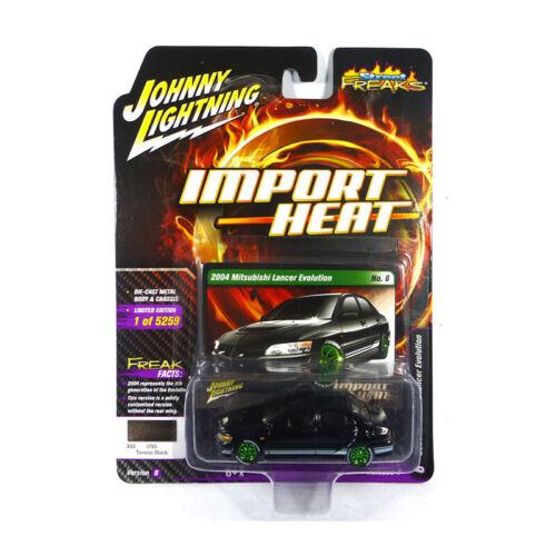 Johnny Lightning jlsf 010b-6 mitsubishi lancer evo negro-Import heat 1:64 nuevo °