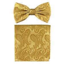 New formal Men's micro fiber Pre-tied Bow Tie & Hankie Gold paisley