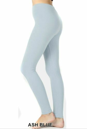 Basic Seamless Solid Stretchable long Length Leggings Nylon Spandex One Size