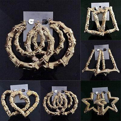 Gold Tone Hoops Bamboo Earring Door Knocker Various Hoop Hollow Lightweight