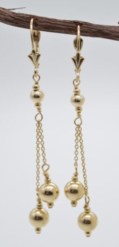 #BE168 New 14K Solid Yellow Gold Round Double Bead Drop//Dangle Earrings