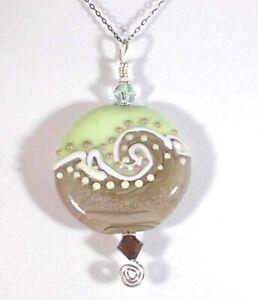 AZTECA-Green-Brown-White-Lampwork-Southwest-Pendant-Necklace