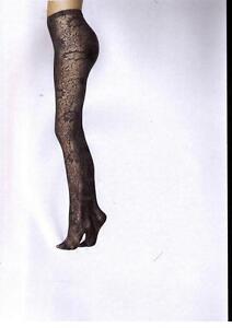 Fogal-Fleur-Strumpfhose-semi-opaque-Crochet-Blumenmuster-schwarz-L-44-46
