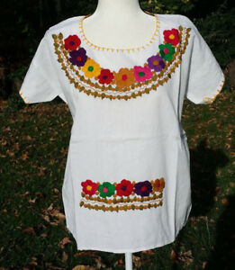 Maya-Mexican-Blouse-Top-Shirt-Embroidered-Flowers-Chiapas-White-Large-L-416