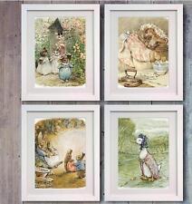 Beatrix Potter Peter Rabbit Set 4 Picture Print Photo Nursery Decor Wall Bedroom