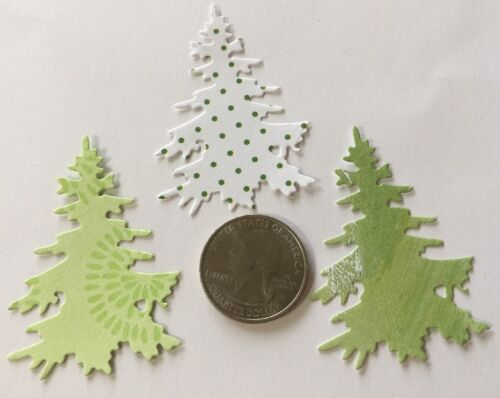 """6pc SMALL PINE TREE Die-Cuts Approx.1-1//2 x 2-1//4/""""Christmas•Evergreen   •Forest•"""