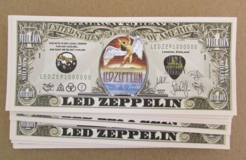 FRESH 25 Led Zeppelin MONEY NOVELTY FAKE ZOFO PLANT LOT MILLION DOLLAR BILLS