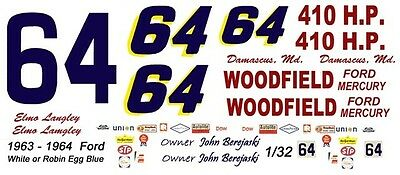 #24 Tiny Lund 1965-66 Ford Galaxie Bill Beck Ford 1//24th 1//25th Scale Decals
