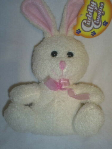 """8.25/"""" Tall Cuddle Bunny in Ivory with Pink Trim and Black Eyes"""