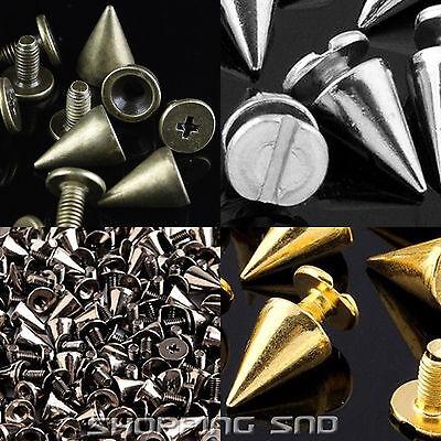 Lot 10mm 3/8 Black Spots Cone Screw Metal Studs Leathercraft Rivet Bullet Spikes