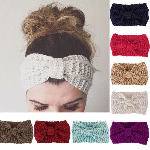 Frauen häkeln Stirnband stricken Bowknot Haarband Ohrwärmer Winter Headwraps NEU