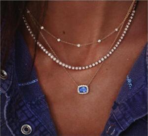 Fashion-Boho-Multilayer-Gold-Chain-Choker-Crystal-Pendant-Necklace-Women-Jewelry