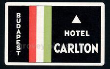 Rare Vintage Hotel Carlton Budapest Hungary Bohemia Luggage Decal Sticker Label