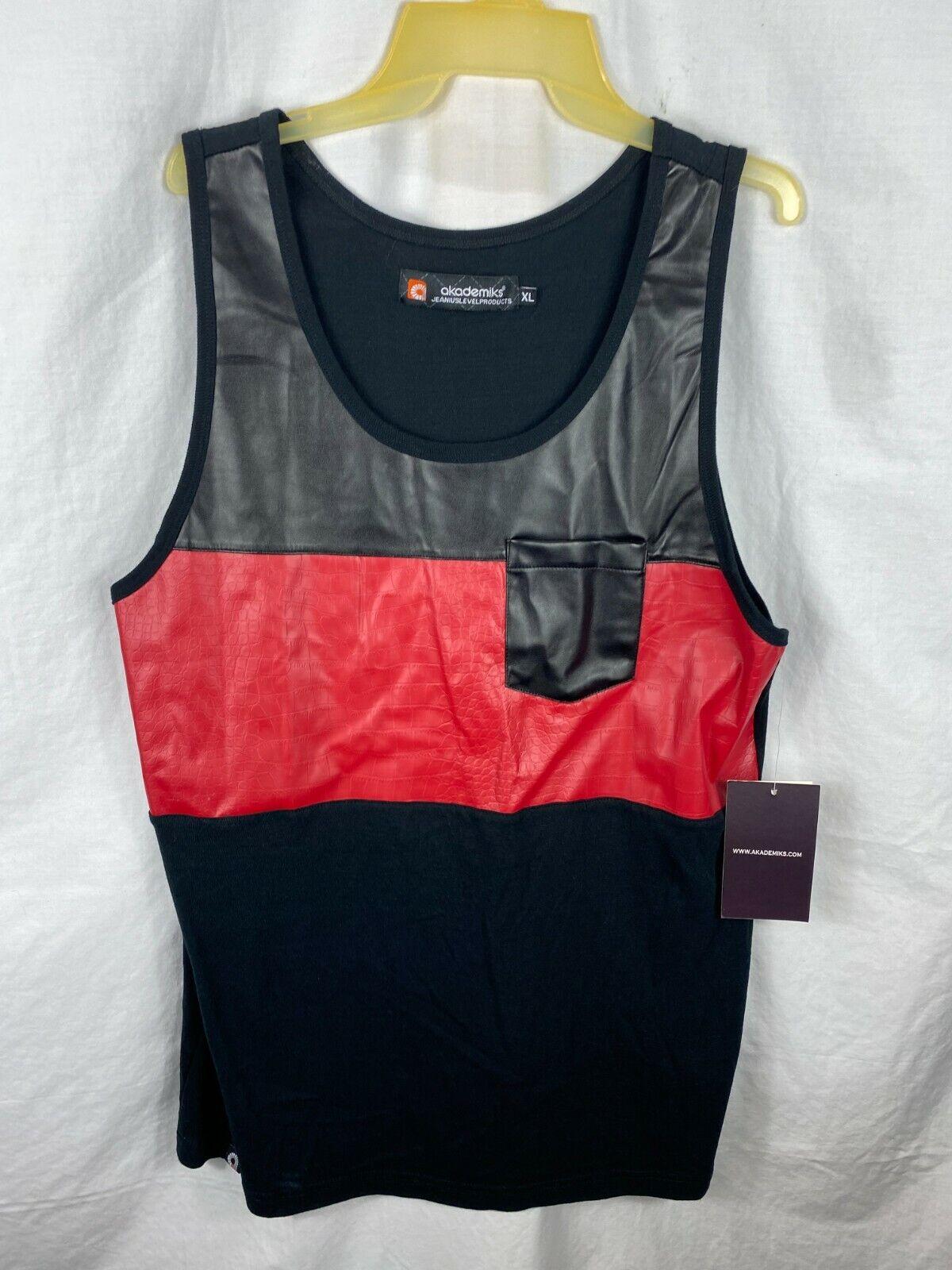 Akademiks Jeanius Level Men tank Top Shirt Black Red Size XL Pocket Gator NWT