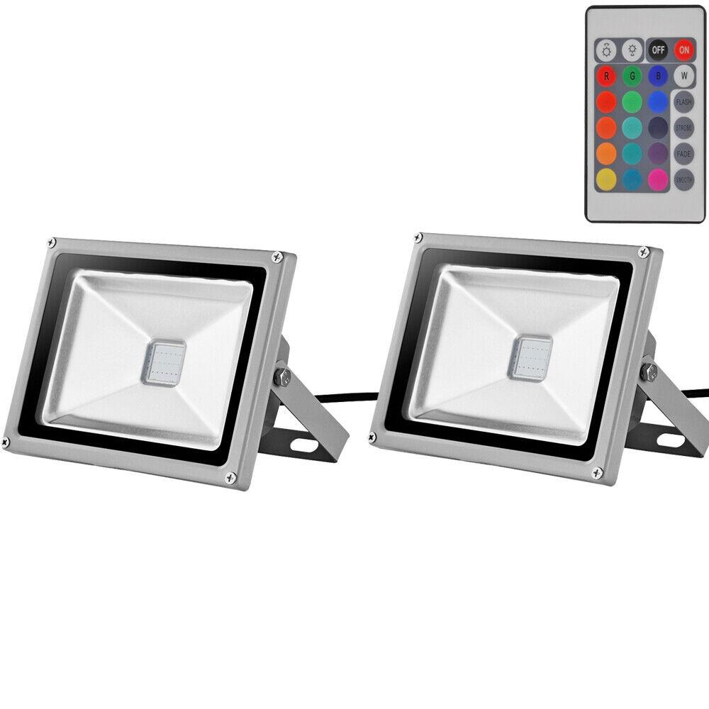 Proyector De Led Rgb 2 un. 30W + Control Remoto IR al aire libre luz de Seguridad de Color