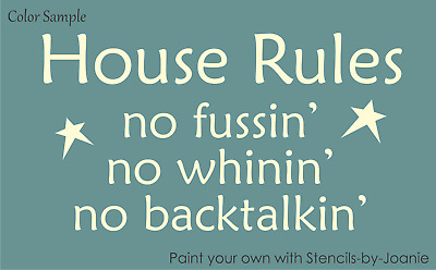 Stencil No Whining Fun Font Family Rules Home Cabin Bedroom Country Prim Signs