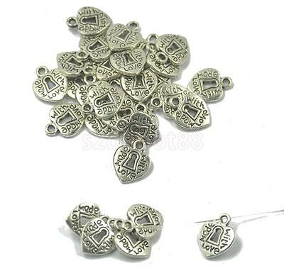 50x Antique Silver Heart Theme Charms Pendant Beads Findings Jewelry Making
