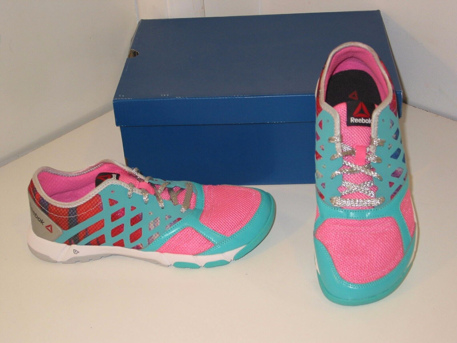 Reebok One Trainer 2.0 GR Running Training Pink & Teal Sneakers Schuhes Damenschuhe 9.5