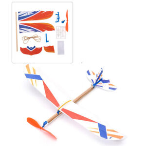 Rubber Band Elastic Powered Aircraft Glider Flying Plane Airplane DIY Kids XUAN