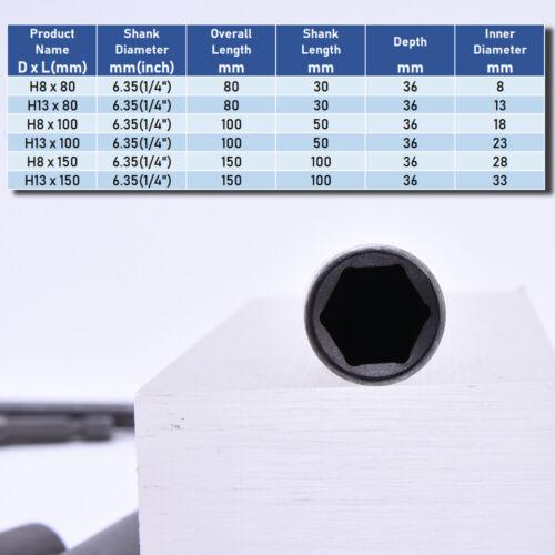 Steckschlüssel Stecknuss Schrauber Nüsse lange Bohrmaschine 10mm 13mm Metrisch