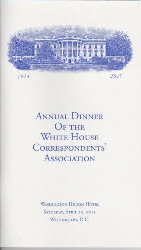 *NEW* 2015 White House Correspondents/' Association Dinner Program Barack Obama