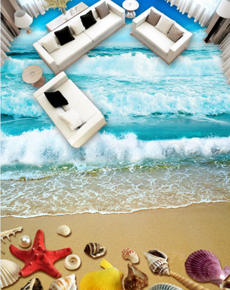 3D Starfish Wellen 76 Fototapeten Wandbild Fototapete Tapete Familie DE Lemon